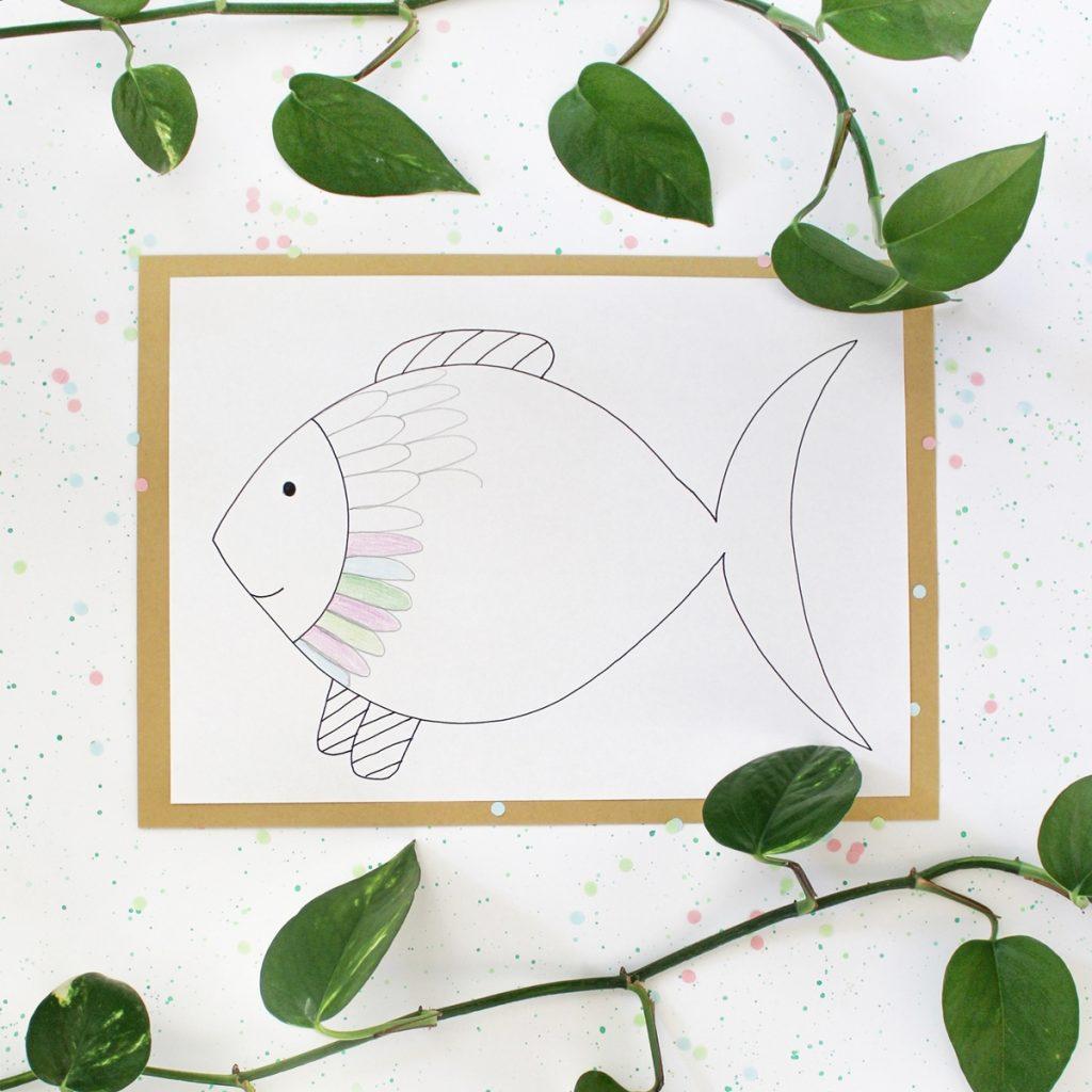 Ausmalbilder für Kinder Fische Schwungübungen